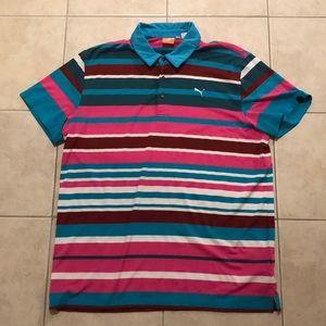 XL Puma Striped Dryfit Polo Shirt